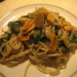 Spaghetti with Swiss Chard & Garlic Chips