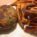 Spicy Baked Sweet Potato Wedges & Turkey Burgers