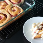 Strawberry Rhubarb Sweet Rolls with Vanilla Buttercream Glaze