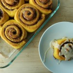 Pumpkin Cinnamon Rolls with Maple Glaze
