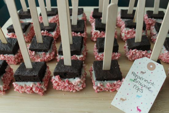 Peppermint Brownie Pops