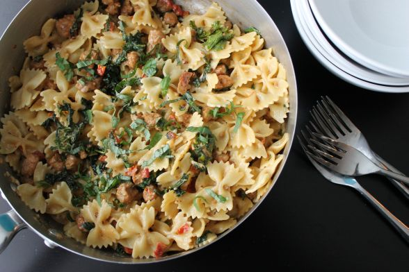 Creamy Bowtie Pasta with Kale and Sausage
