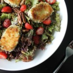 Strawberry & Goat Cheese Fritter Salad with Poppy Seed Dressing