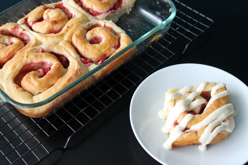 Strawberry Rhubarb Sweet Rolls {Planet Byn}
